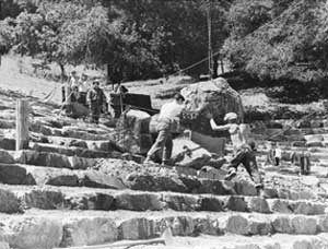 Workers build Mountain Theater