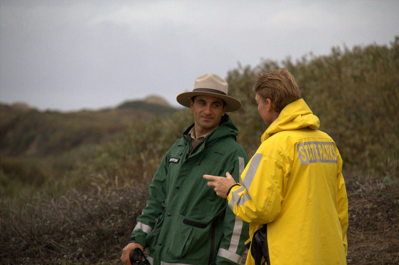 Park Ranger, Ziad Bawarshi, confers with park ranger colleague. Both rangers are monitoring the elephant seal breeding grounds of Año Nuevo State Park. Photo by Courtney Quirin.