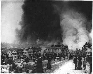 Alamo Square, looking east, after the 1906 earthquake. Photo: Panhandle Residents Organization.