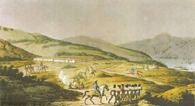 The Presidio of San Francisco when it was a Spanish outpost. Drawing by Louis Choris in November 1817. Photo: Wikipedia