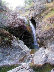 Pinto Creek forms waterfalls and pools on its way to the confluence with Robison Creek. (Photo by Barry Breckling)