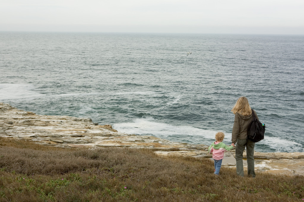 A mother holds her daughter's hand as they view the Pacific Ocean from a cliff along Coast Dairies. Photo: William Poole/Trust for Public Land.